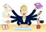 Stressed at work - office multitasking on white