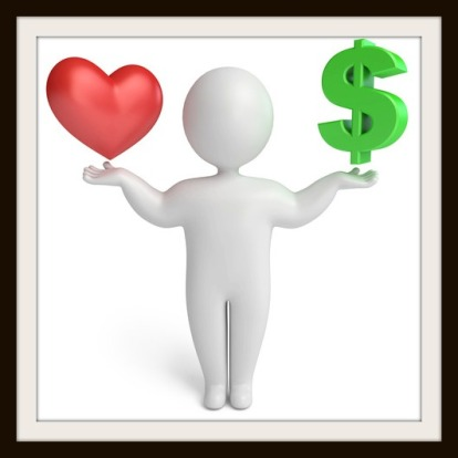 choice between love and money, on a white background, 3d render